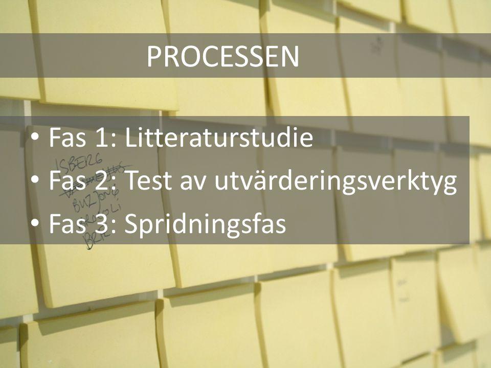 PROCESSEN Fas 1: Litteraturstudie Fas 2: Test av utvärderingsverktyg Fas 3: Spridningsfas