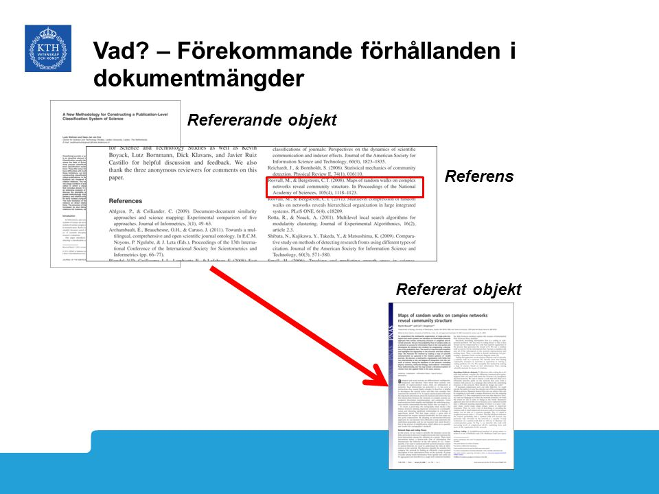 Refererande objekt Refererat objekt Referens Vad? – Förekommande förhållanden i dokumentmängder