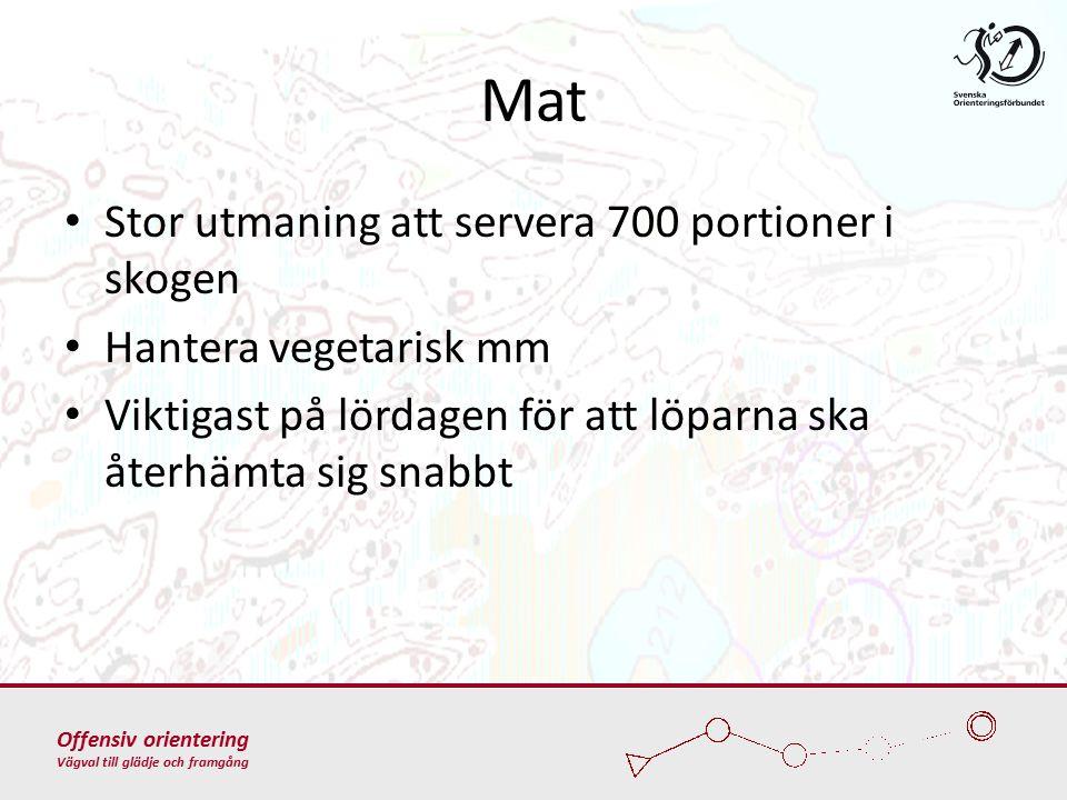 Offensiv orientering Vägval till glädje och framgång Mat Stor utmaning att servera 700 portioner i skogen Hantera vegetarisk mm Viktigast på lördagen för att löparna ska återhämta sig snabbt