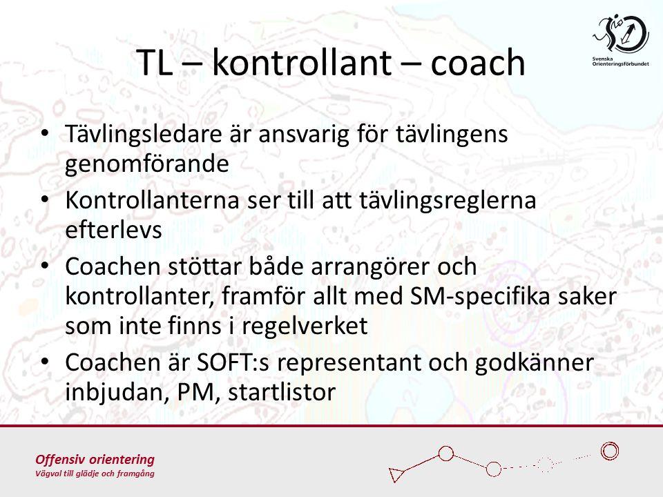 Offensiv orientering Vägval till glädje och framgång TL – kontrollant – coach Tävlingsledare är ansvarig för tävlingens genomförande Kontrollanterna ser till att tävlingsreglerna efterlevs Coachen stöttar både arrangörer och kontrollanter, framför allt med SM-specifika saker som inte finns i regelverket Coachen är SOFT:s representant och godkänner inbjudan, PM, startlistor
