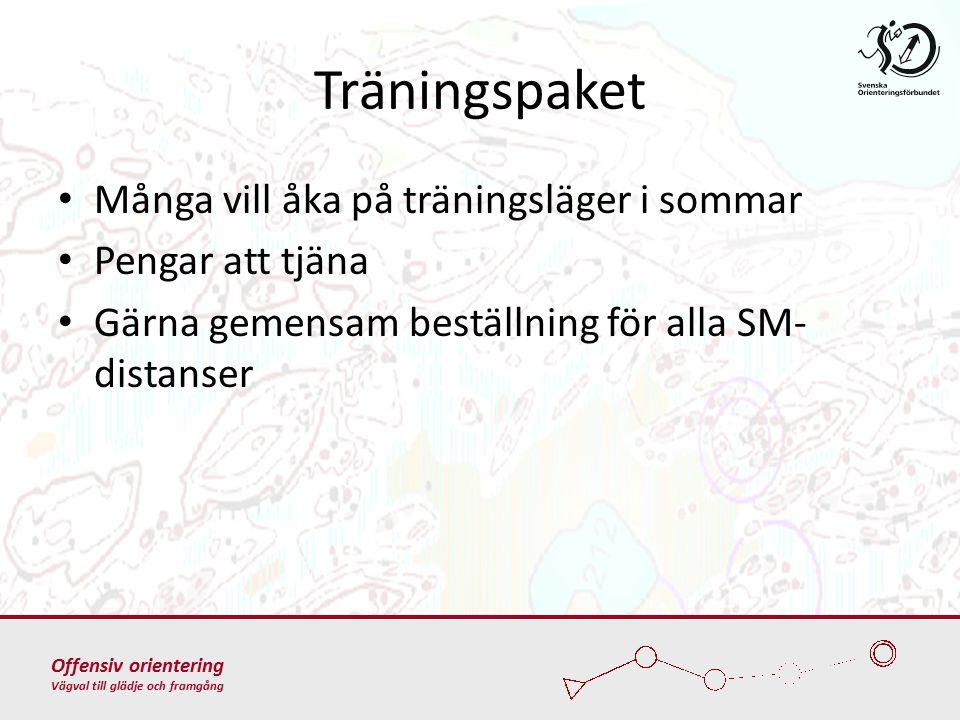Offensiv orientering Vägval till glädje och framgång Träningspaket Många vill åka på träningsläger i sommar Pengar att tjäna Gärna gemensam beställning för alla SM- distanser