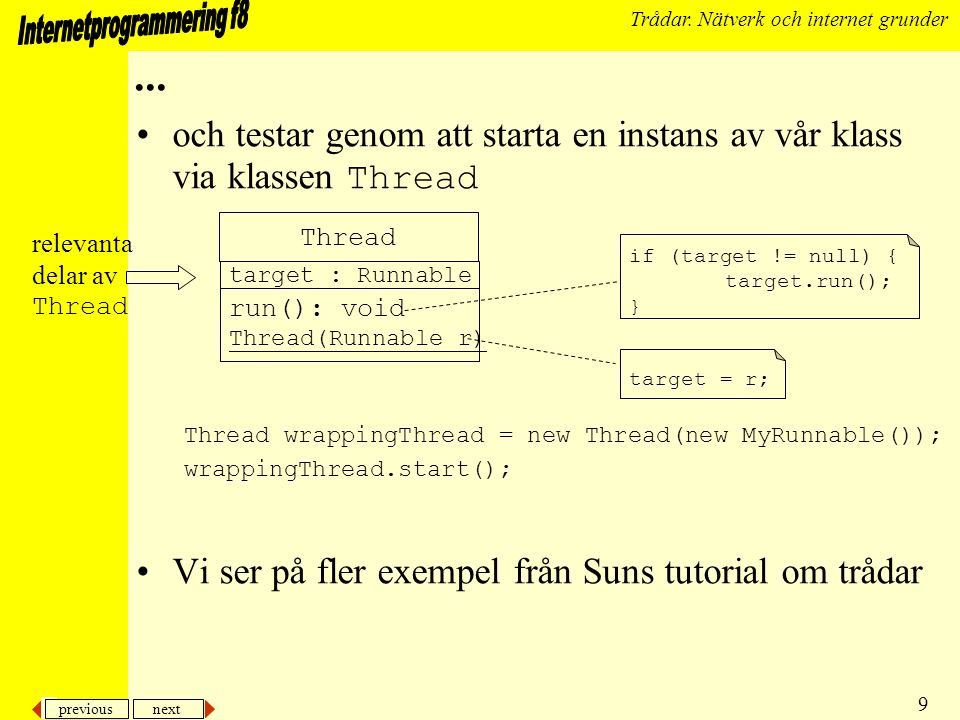 previous next 9 Trådar. Nätverk och internet grunder...
