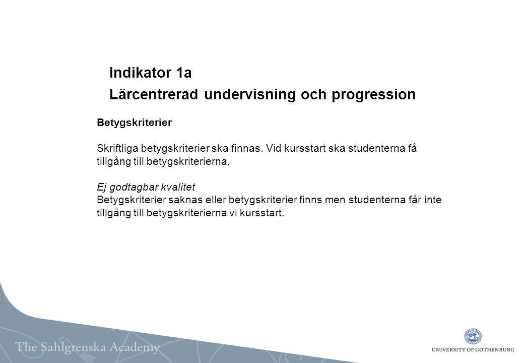 Indikator 1a Lärcentrerad undervisning och progression Betygskriterier Skriftliga betygskriterier ska finnas.