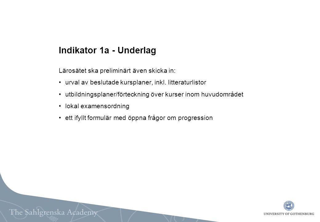 Indikator 1a - Underlag Lärosätet ska preliminärt även skicka in: urval av beslutade kursplaner, inkl.