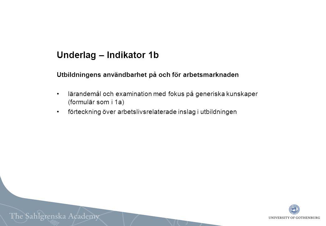 Underlag – Indikator 1b Utbildningens användbarhet på och för arbetsmarknaden lärandemål och examination med fokus på generiska kunskaper (formulär som i 1a) förteckning över arbetslivsrelaterade inslag i utbildningen