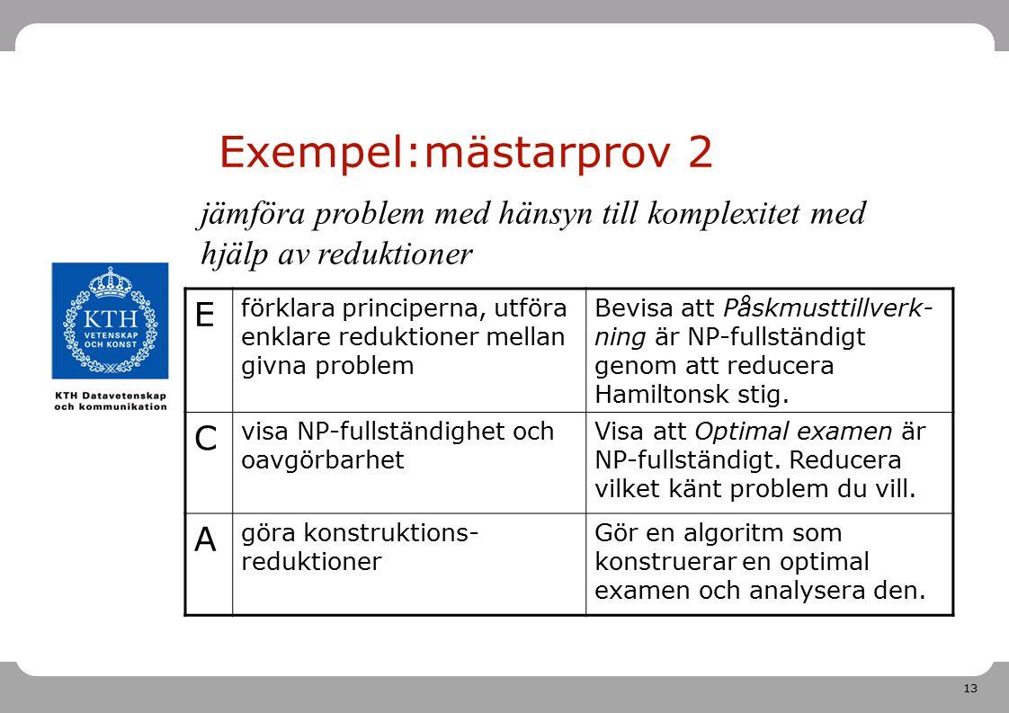 13 Exempel:mästarprov 2 E förklara principerna, utföra enklare reduktioner mellan givna problem Bevisa att Påskmusttillverk- ning är NP-fullständigt g