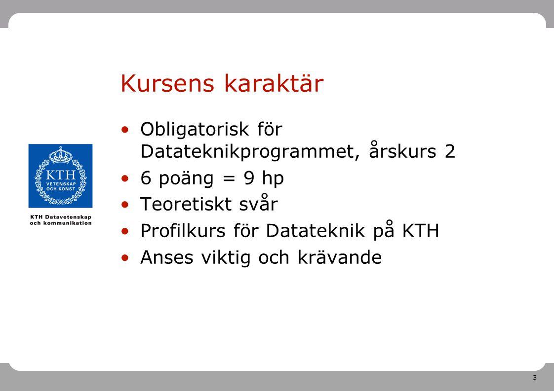 3 Kursens karaktär Obligatorisk för Datateknikprogrammet, årskurs 2 6 poäng = 9 hp Teoretiskt svår Profilkurs för Datateknik på KTH Anses viktig och k