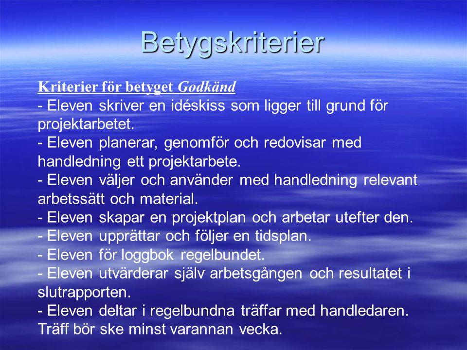 Betygskriterier Kriterier för betyget Godkänd - Eleven skriver en idéskiss som ligger till grund för projektarbetet.