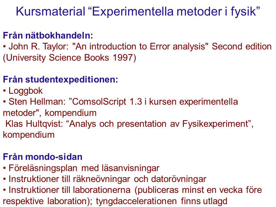 Kursmaterial Experimentella metoder i fysik Från nätbokhandeln: John R.