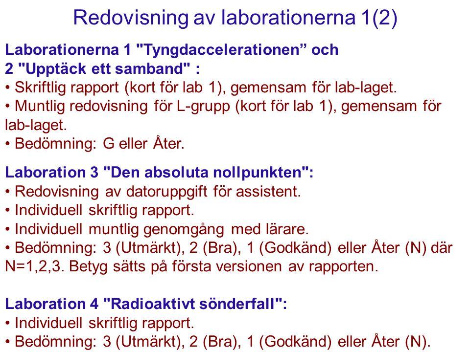 Redovisning av laborationerna 1(2) Laborationerna 1 Tyngdaccelerationen och 2 Upptäck ett samband : Skriftlig rapport (kort för lab 1), gemensam för lab-laget.