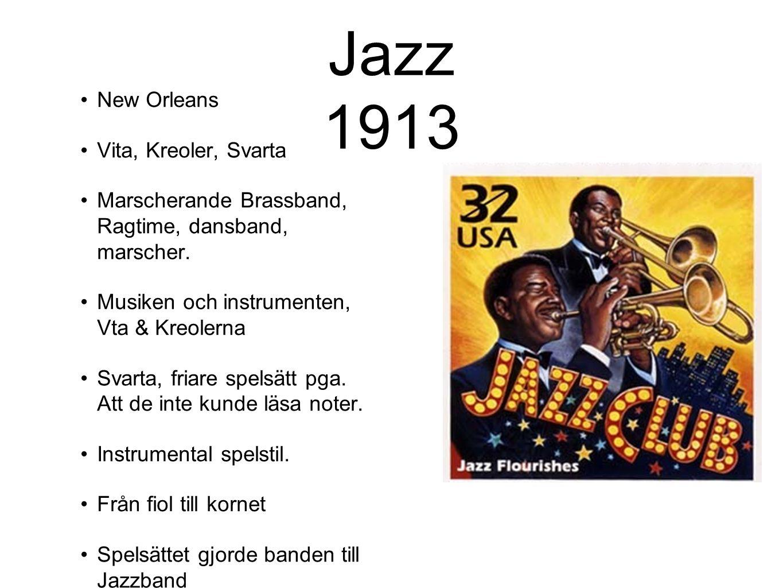 Jazz 1913 New Orleans Vita, Kreoler, Svarta Marscherande Brassband, Ragtime, dansband, marscher. Musiken och instrumenten, Vta & Kreolerna Svarta, fri