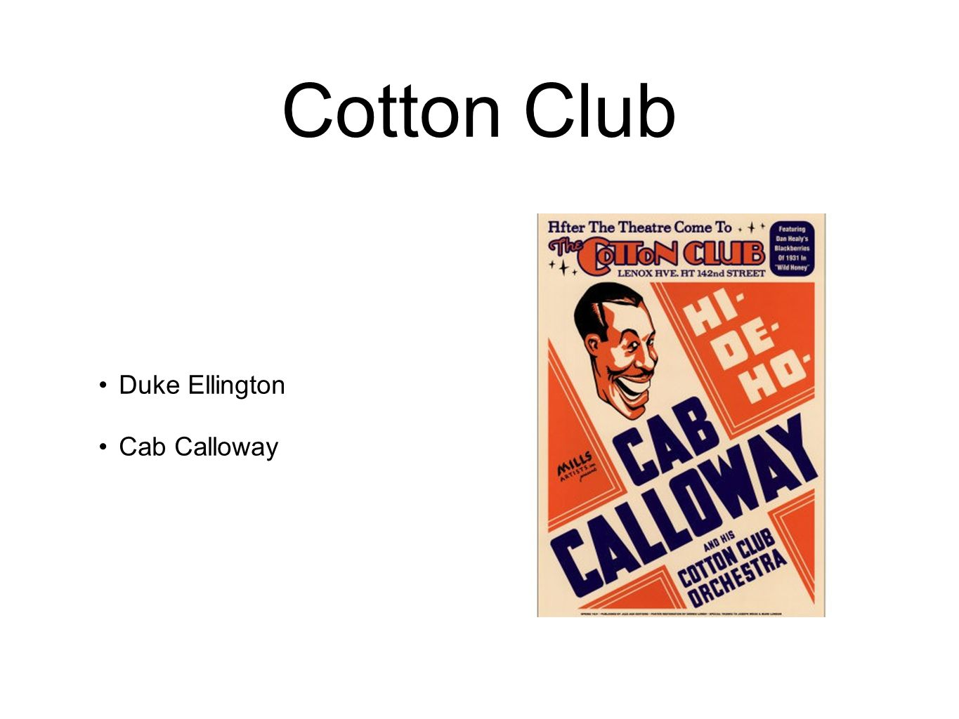 Cotton Club Duke Ellington Cab Calloway