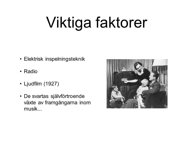 Viktiga faktorer Elektrisk inspelningsteknik Radio Ljudfilm (1927) De svartas självförtroende växte av framgångarna inom musik...