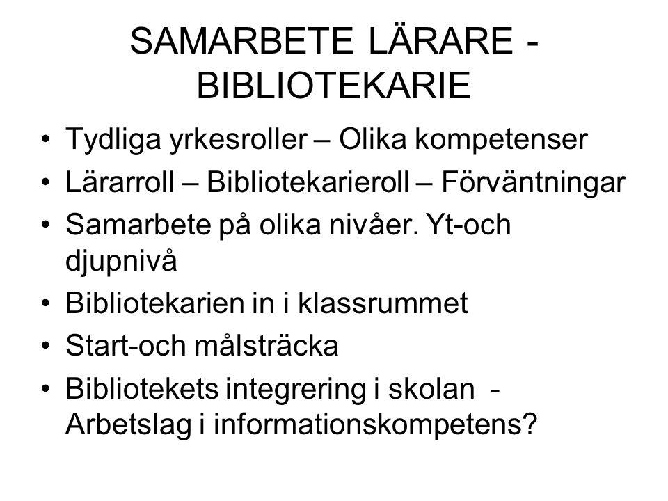 SAMARBETE LÄRARE - BIBLIOTEKARIE Tydliga yrkesroller – Olika kompetenser Lärarroll – Bibliotekarieroll – Förväntningar Samarbete på olika nivåer.