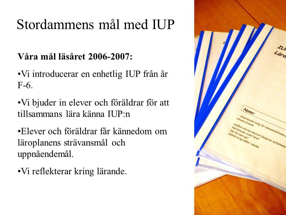 Stordammens mål med IUP Våra mål läsåret 2006-2007: Vi introducerar en enhetlig IUP från år F-6. Vi bjuder in elever och föräldrar för att tillsammans