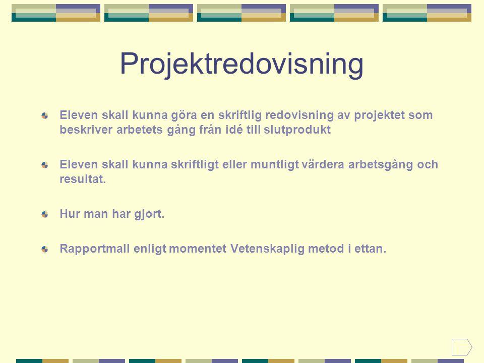 Projektredovisning Eleven skall kunna göra en skriftlig redovisning av projektet som beskriver arbetets gång från idé till slutprodukt Eleven skall kunna skriftligt eller muntligt värdera arbetsgång och resultat.