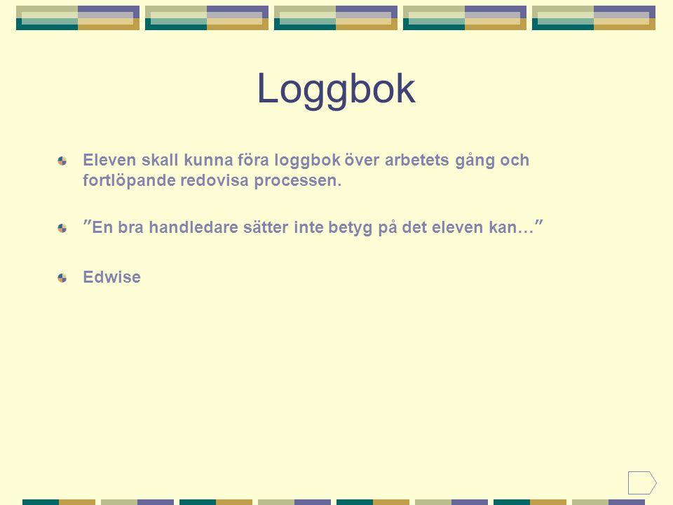 Loggbok Eleven skall kunna föra loggbok över arbetets gång och fortlöpande redovisa processen.