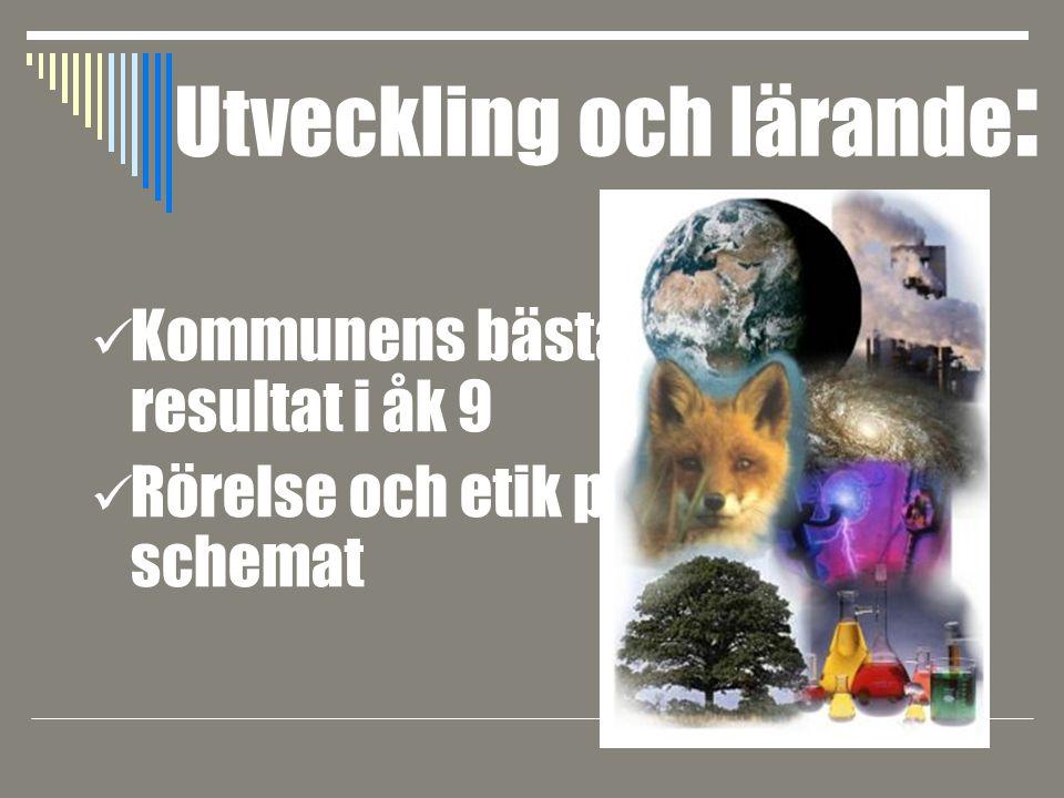 Kommunens bästa resultat i åk 9 Rörelse och etik på schemat Utveckling och lärande :