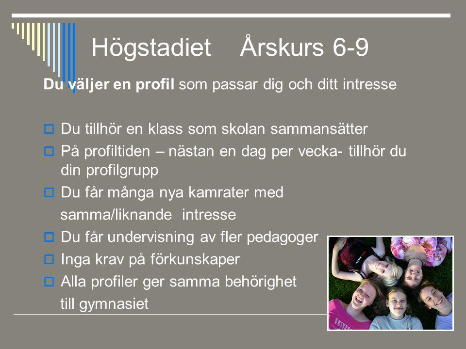 Högstadiet Årskurs 6-9 Du väljer en profil som passar dig och ditt intresse  Du tillhör en klass som skolan sammansätter  På profiltiden – nästan en
