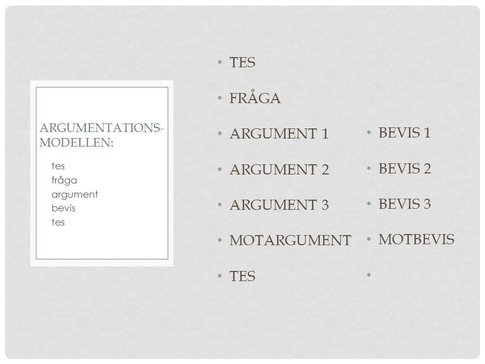TES FRÅGA ARGUMENT 1 ARGUMENT 2 ARGUMENT 3 MOTARGUMENT TES tes fråga argument bevis tes ARGUMENTATIONS- MODELLEN: BEVIS 1 BEVIS 2 BEVIS 3 MOTBEVIS