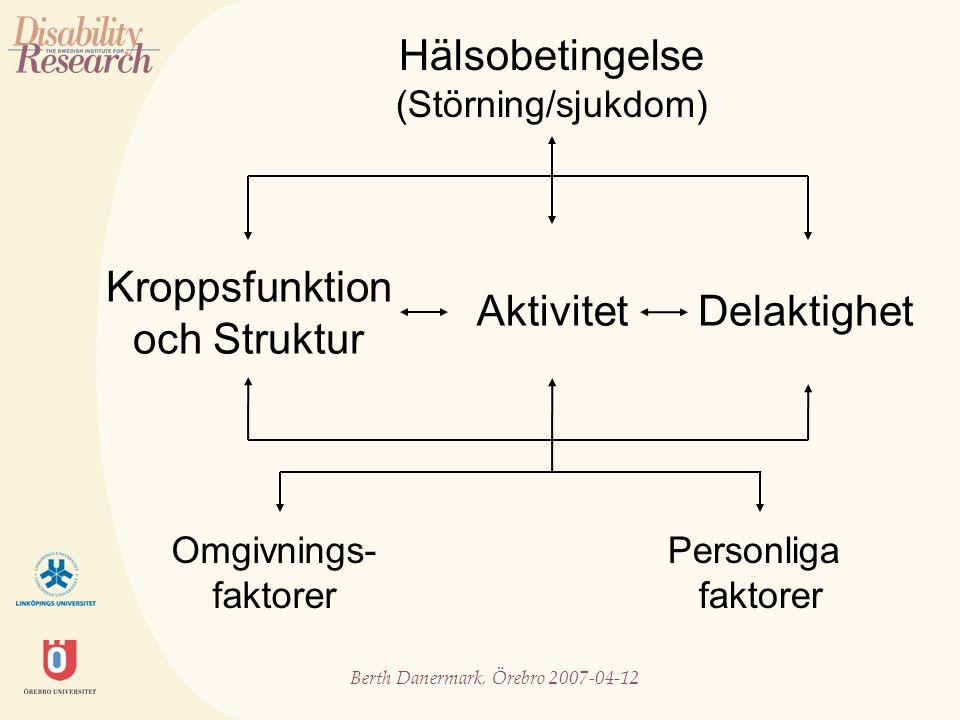 Berth Danermark, Örebro 2007-04-12 IPK ett samspel mellan olika dimensioner diskursiv (kunskap- och förklaringsmodell) organisatorisk/juridisk psykologisk