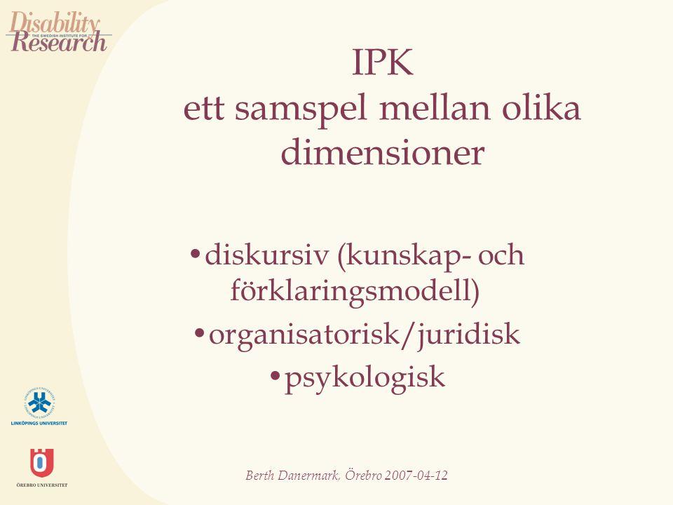 Berth Danermark, Örebro 2007-04-12 Ideal vs verklighet.