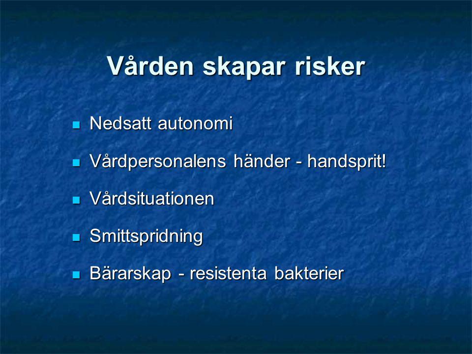 Vården skapar risker Nedsatt autonomi Nedsatt autonomi Vårdpersonalens händer - handsprit! Vårdpersonalens händer - handsprit! Vårdsituationen Vårdsit