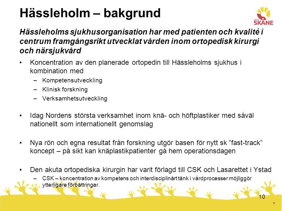 10 Koncentration av den planerade ortopedin till Hässleholms sjukhus i kombination med –Kompetensutveckling –Klinisk forskning –Verksamhetsutveckling