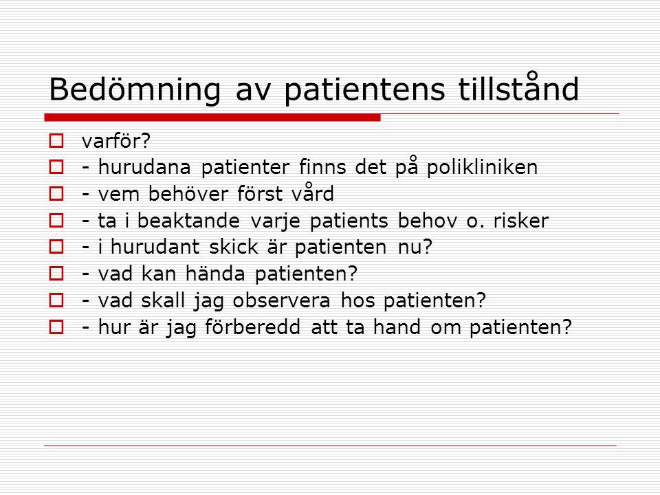 Bedömning av poliklinik patientens tillstånd  Hur.
