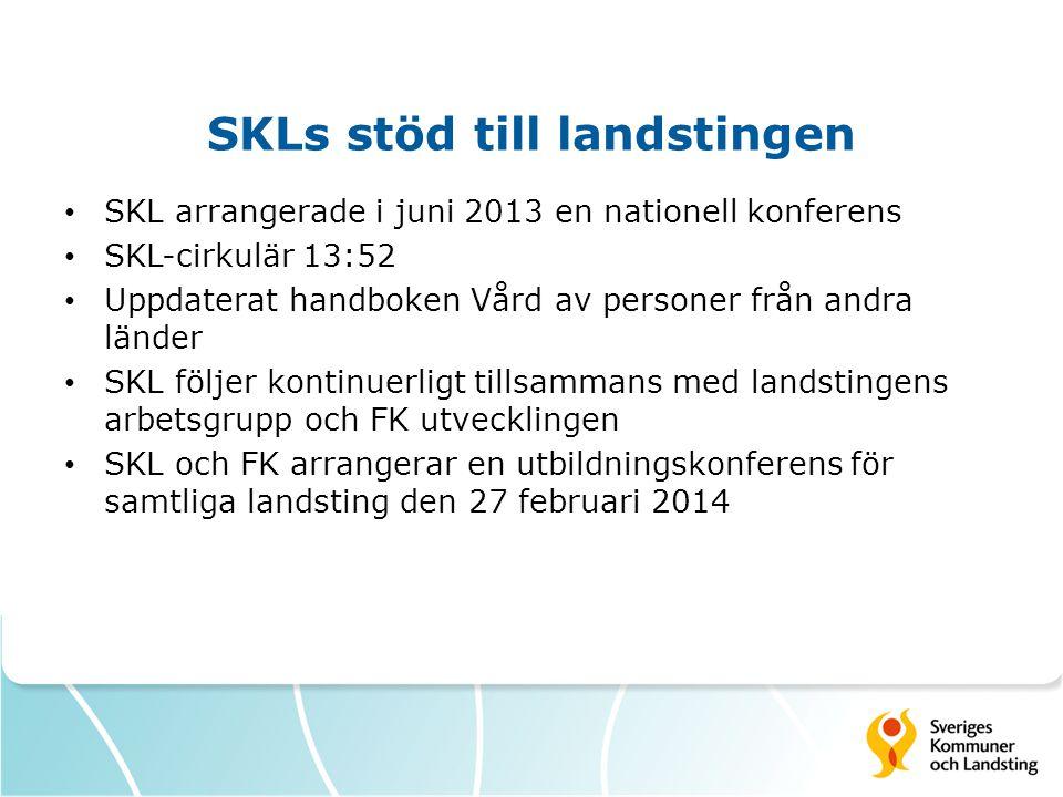 SKLs stöd till landstingen SKL arrangerade i juni 2013 en nationell konferens SKL-cirkulär 13:52 Uppdaterat handboken Vård av personer från andra länd