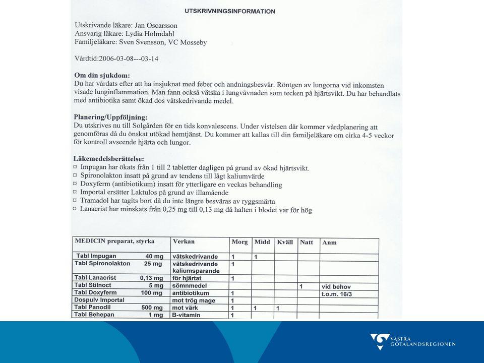 Nyttan av läkemedelsberättelse Studie från Lunds Universitetssjukhus, Midlöv 2008 179 patienter utan vs 248 med läkemedelsberättelse Korrekt läkemedelslista i 34% vs 68% (p<0.001) Medelantal fel per patient: 2.22 vs 0.97 (p<0.001) Måttlig/hög risk för kliniska konsekvenser: 32% vs 15% (p<0.001) Sjukvårdskontakt inom 3 månader efter utskrivning: 8.9% vs 4.4% (p=0.067)