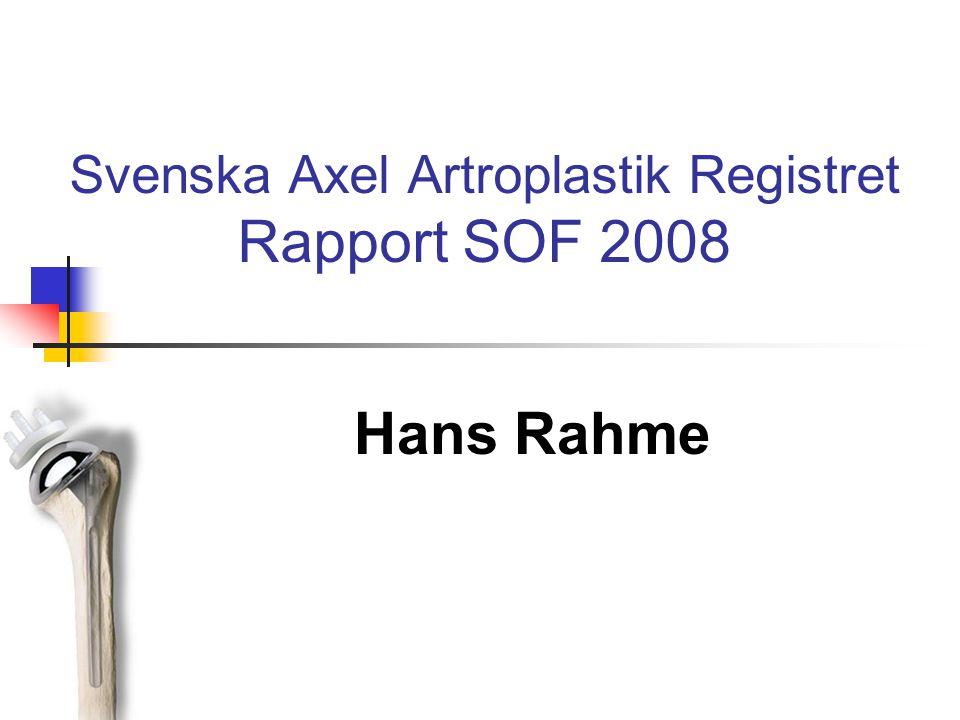 Svenska Axel Artroplastik Registret Rapport SOF 2008 Hans Rahme