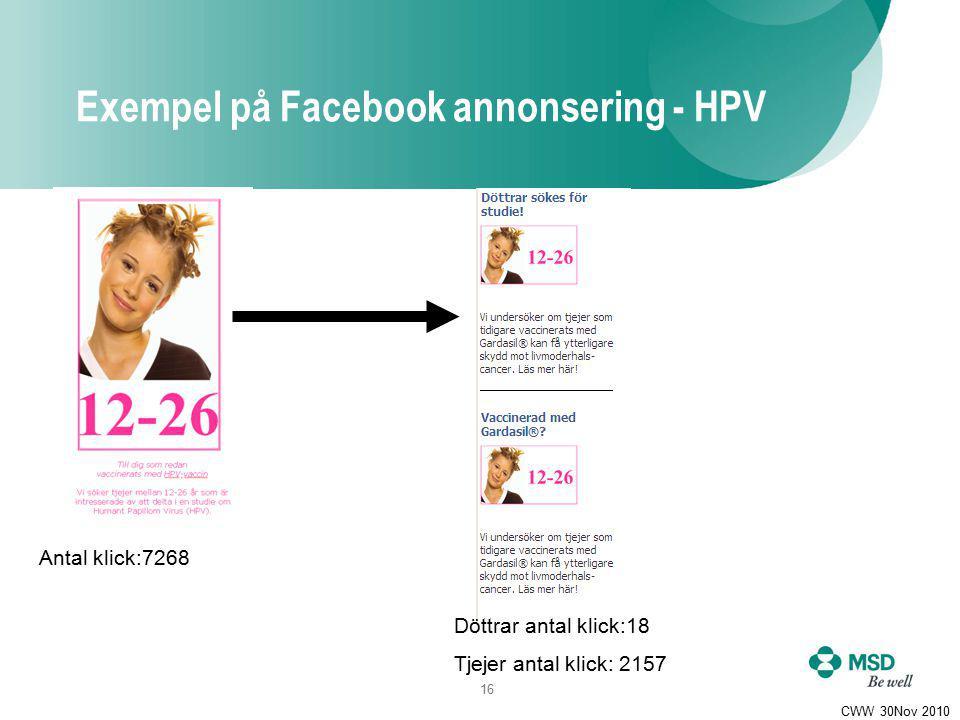 16 CWW 30Nov 2010 Antal klick:7268 Döttrar antal klick:18 Tjejer antal klick: 2157 Exempel på Facebook annonsering - HPV