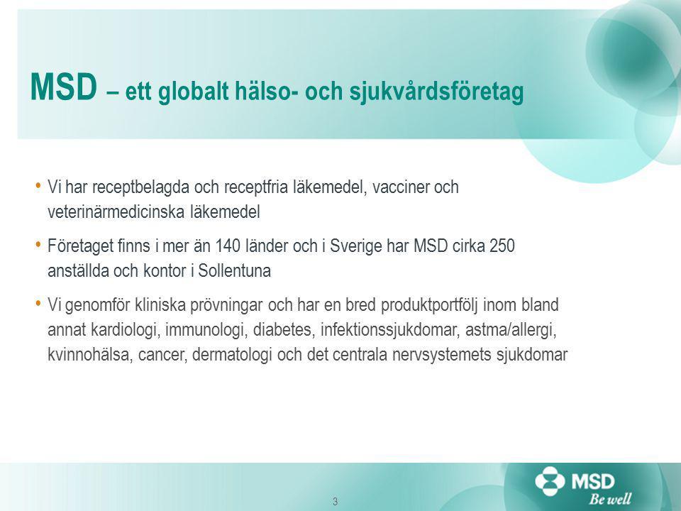 3 Vi har receptbelagda och receptfria läkemedel, vacciner och veterinärmedicinska läkemedel Företaget finns i mer än 140 länder och i Sverige har MSD cirka 250 anställda och kontor i Sollentuna Vi genomför kliniska prövningar och har en bred produktportfölj inom bland annat kardiologi, immunologi, diabetes, infektionssjukdomar, astma/allergi, kvinnohälsa, cancer, dermatologi och det centrala nervsystemets sjukdomar MSD – ett globalt hälso- och sjukvårdsföretag