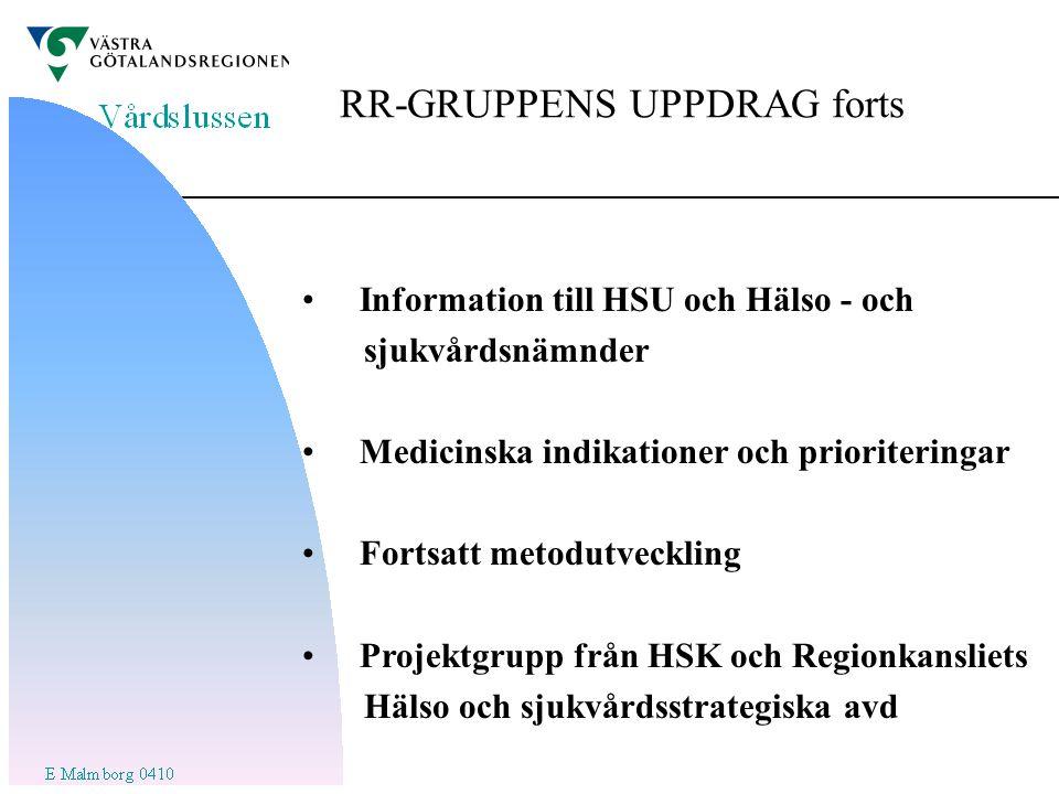 RR-GRUPPENS UPPDRAG forts Information till HSU och Hälso - och sjukvårdsnämnder Medicinska indikationer och prioriteringar Fortsatt metodutveckling Projektgrupp från HSK och Regionkansliets Hälso och sjukvårdsstrategiska avd