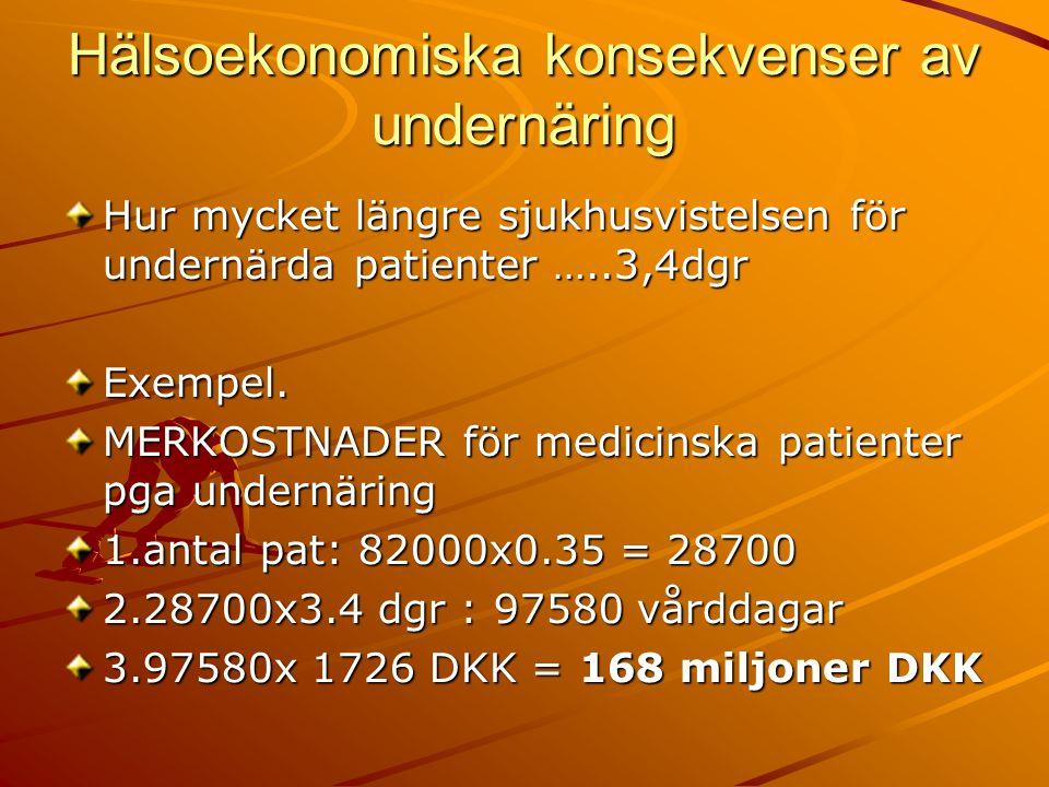 Hälsoekonomiska konsekvenser av undernäring Hur mycket längre sjukhusvistelsen för undernärda patienter …..3,4dgr Exempel.