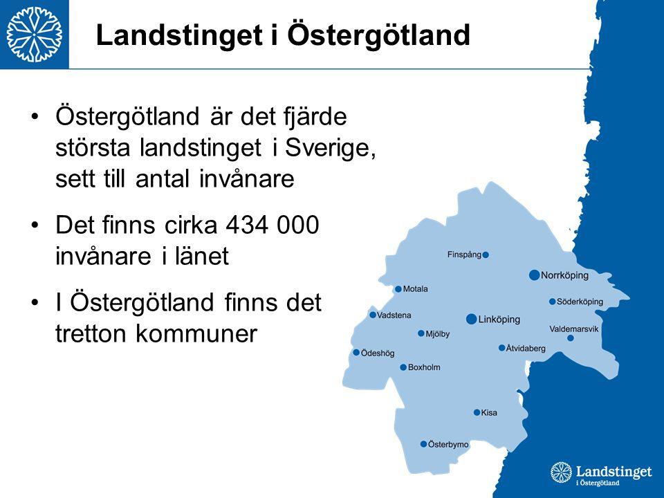 Landstinget i Östergötland Östergötland är det fjärde största landstinget i Sverige, sett till antal invånare Det finns cirka 434 000 invånare i länet