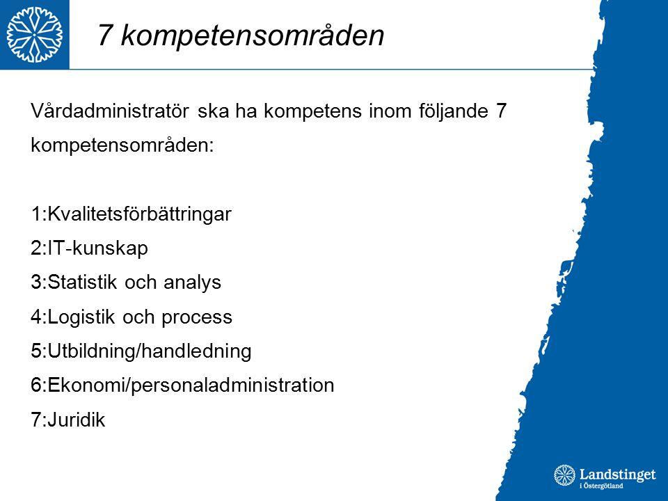 7 kompetensområden Vårdadministratör ska ha kompetens inom följande 7 kompetensområden: 1:Kvalitetsförbättringar 2:IT-kunskap 3:Statistik och analys 4