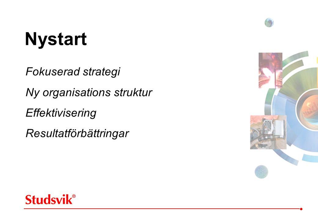 Nystart Fokuserad strategi Ny organisations struktur Effektivisering Resultatförbättringar