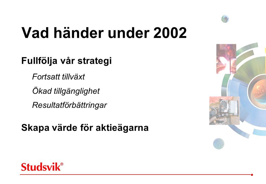 Fullfölja vår strategi Fortsatt tillväxt Ökad tillgänglighet Resultatförbättringar Skapa värde för aktieägarna Vad händer under 2002