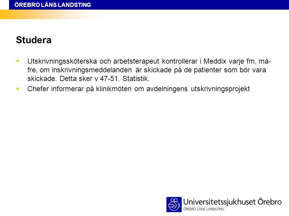 ÖREBRO LÄNS LANDSTING Studera  Utskrivningssköterska och arbetsterapeut kontrollerar i Meddix varje fm, må- fre, om inskrivningsmeddelanden är skickade på de patienter som bör vara skickade.