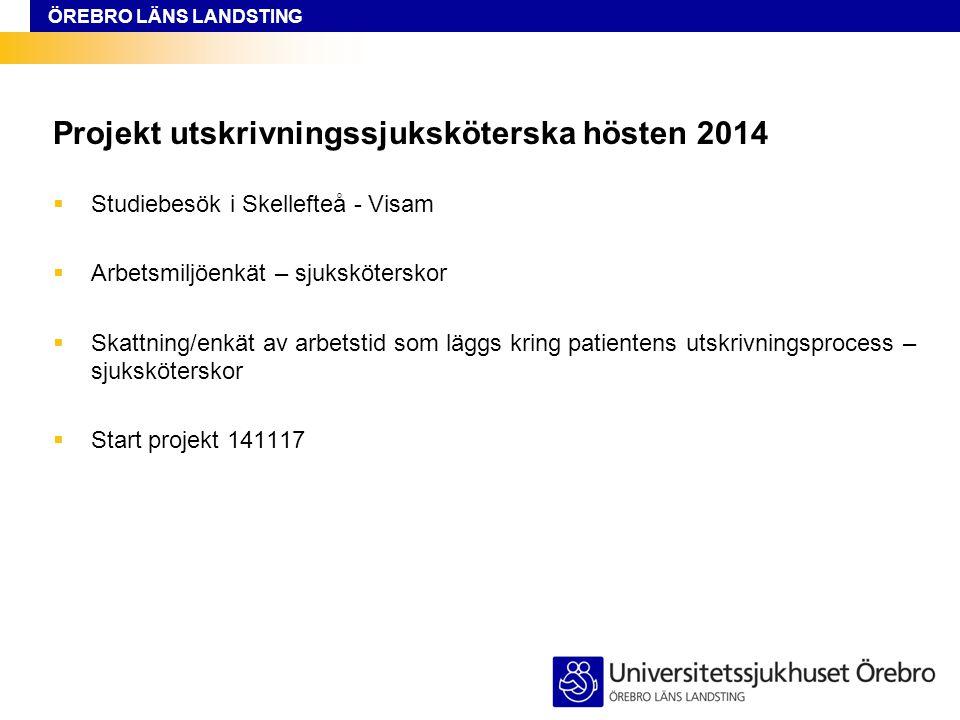 ÖREBRO LÄNS LANDSTING Projekt utskrivningssjuksköterska hösten 2014  Studiebesök i Skellefteå - Visam  Arbetsmiljöenkät – sjuksköterskor  Skattning/enkät av arbetstid som läggs kring patientens utskrivningsprocess – sjuksköterskor  Start projekt 141117