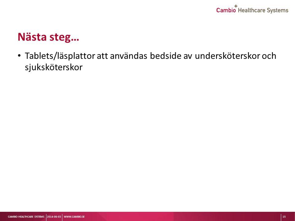 Sv CAMBIO HEALTHCARE SYSTEMS Nästa steg… Tablets/läsplattor att användas bedside av undersköterskor och sjuksköterskor 2014-06-03WWW.CAMBIO.SE15