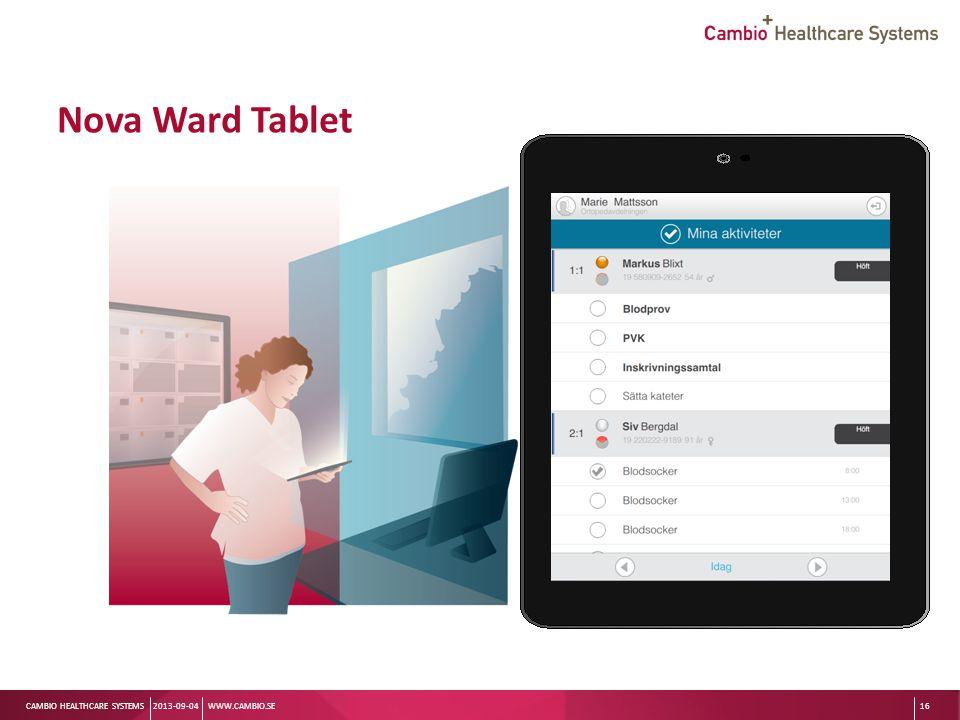 Sv CAMBIO HEALTHCARE SYSTEMS Nova Ward Tablet 2013-09-04WWW.CAMBIO.SE16