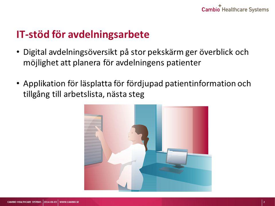 Sv CAMBIO HEALTHCARE SYSTEMS Arbetsuppgifter vi kan hjälpa till med Ange vilken läkare som är ansvarig för patienten så att det syns på patientkortet Ange om kontakt med andra yrkeskategorier som inte tillhör vårdlagen planeras, t ex sjukgymnast/fysioterapeut/arbetsterapeut/kurator/dietist så att det syns på patientkortet 2014-06-03WWW.CAMBIO.SE13