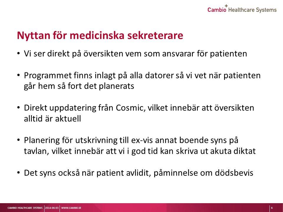 Sv CAMBIO HEALTHCARE SYSTEMS Vårdlagsvyn 2013-09-04WWW.CAMBIO.SE7 Varje team har detaljerad info om sina patienter