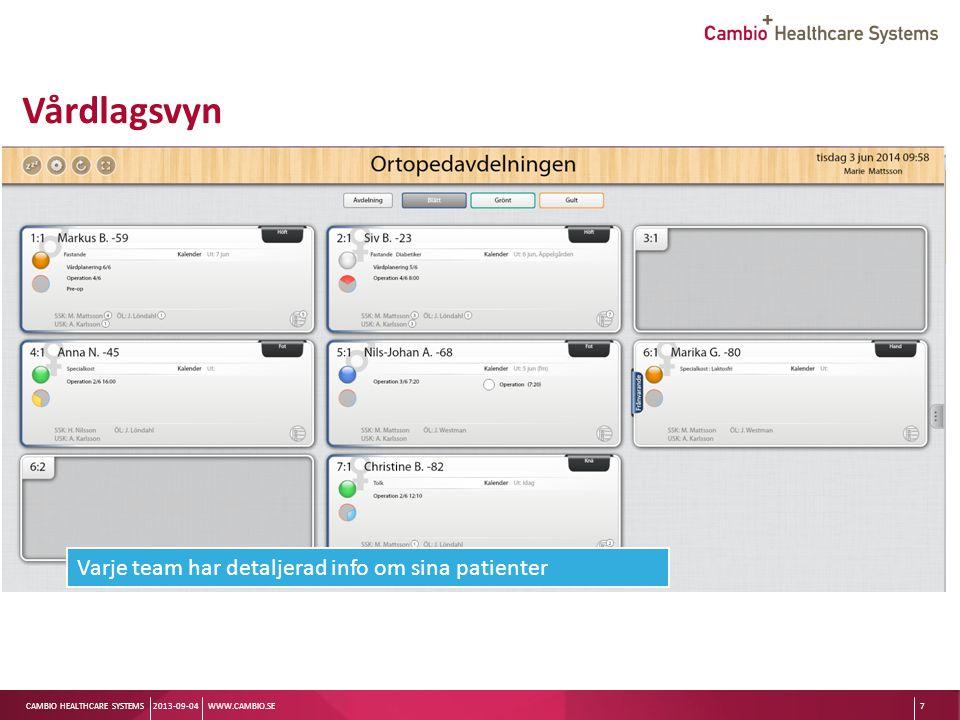 Sv CAMBIO HEALTHCARE SYSTEMS Patientbrickan 2013-09-04WWW.CAMBIO.SE8 Sängplats Status Namn Utskrivningsinfo Etikett om diagnos eller behandling Kön Uppmärksamhetssignal -Smitta -Ej HLR -Infektionskänslig Informationsmarkörer Uppgifter Ansvarig personal Möjlighet att lägga till uppgifter för specifik personal