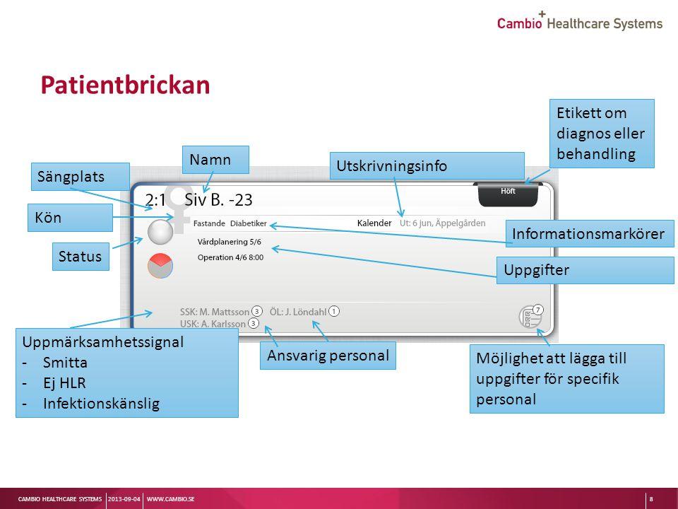 Sv CAMBIO HEALTHCARE SYSTEMS Patientbrickan 2013-09-04WWW.CAMBIO.SE8 Sängplats Status Namn Utskrivningsinfo Etikett om diagnos eller behandling Kön Up