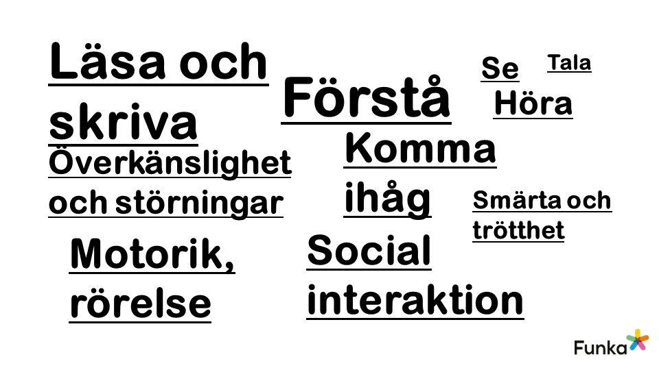 Förstå Se Läsa och skriva Höra Tala Motorik, rörelse Komma ihåg Social interaktion Överkänslighet och störningar Smärta och trötthet
