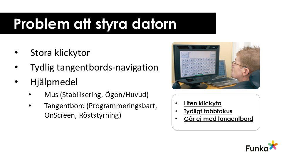 Problem att styra datorn Stora klickytor Tydlig tangentbords-navigation Hjälpmedel Mus (Stabilisering, Ögon/Huvud) Tangentbord (Programmeringsbart, On